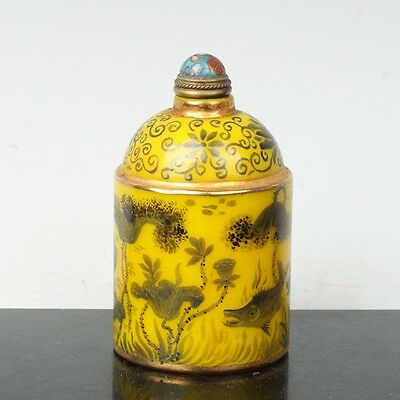 China Exquisite Handmade Lotus and fish pattern Glass snuff bottle