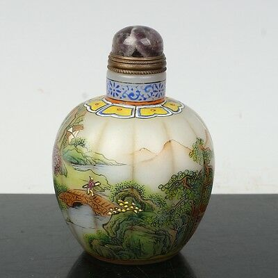 China Exquisite Handmade landscape character pattern Glass snuff bottle