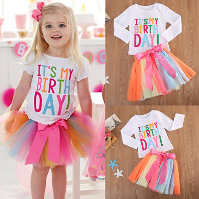 Baby Girl Kid Toddler Long Sleeve T-shirt+Skirt Dress Outfit Birthday Clothes