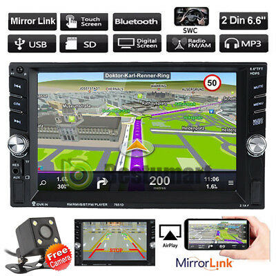 """6.6""""HD Double 2DIN Bluetooth Touch Screen Car Radio Stereo MP3 MP5 Player+Camera"""