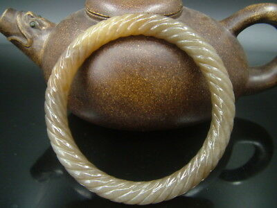 Antique Old Chinese Nephrite Celadon Brown sugar Jade Twisted silk  Bracelet