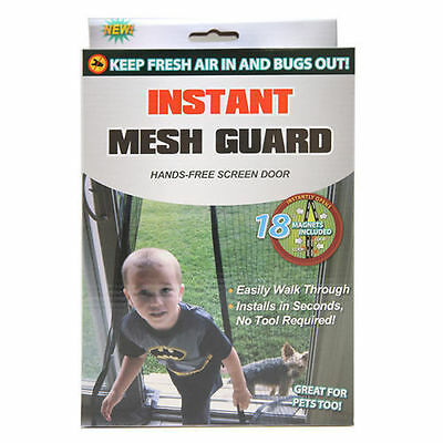 New! Instant Mesh Guard Hands-Free Screen W/ 18 Magnets Closure Keep Bugs Out