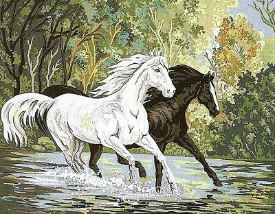 Horse Tapestry 60 X 80 Cm-  Pair Of Horses At River Crossing To Stitch!