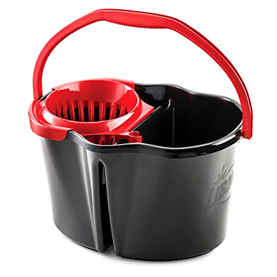 Mop Bucket with Wringer 4 Gallon 2 Buckets in One Clean / Dirty Floor Washing