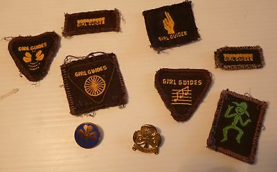 Girl guides 2 pins  & 7 sew on labels