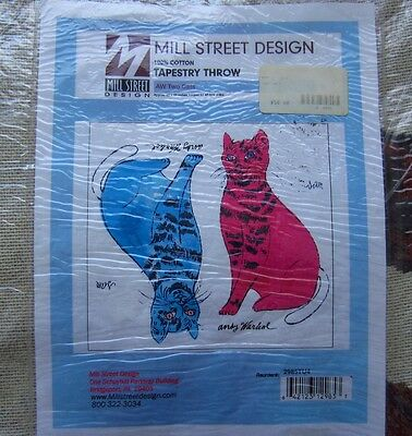 Andy Warhol '2 Cats'  Tapestry Throw by Mill Street Design - Cat Art!