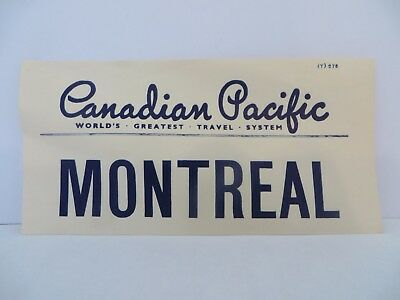 Vintage 1960s Canadian Pacific Montreal Luggage Label - Very Hard to Find