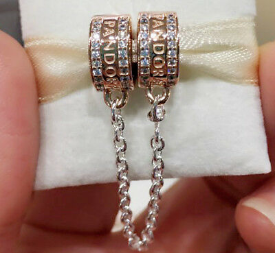 Genuine 782057CZ-05 Pandora Rose Insignia Safety Chain Clear Cubic Zirconia