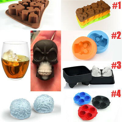 Whiskey Silicon Ice Cube Ball Maker Mould 3D Skull Brick Halloween Party Tray
