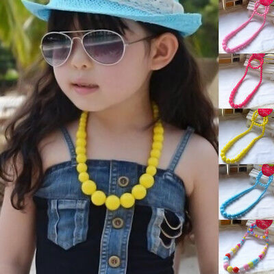 Princess Beads Necklace Kids Children Bracelet Set Lovely Jewelry Colorful Girl
