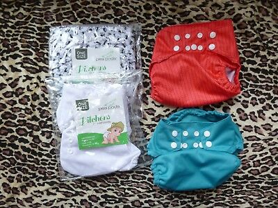 4 x Pea Pods Waterproof Nappy Covers Pilchers - one size birth to potty