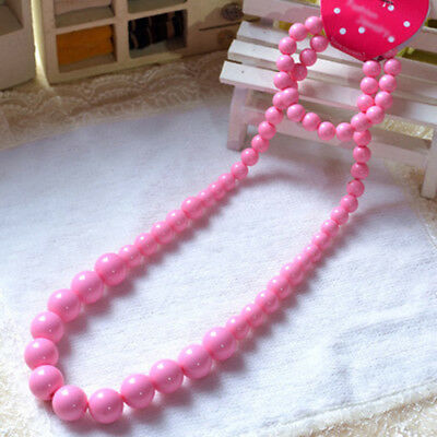 Pink Princess Beads Necklace Kids Children Bracelet Set Lovely Jewelry