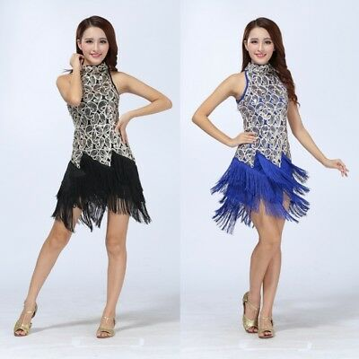 Women Latin Dance Salsa Ballroom Competition Tassel Sequin Dress Fancy Costume