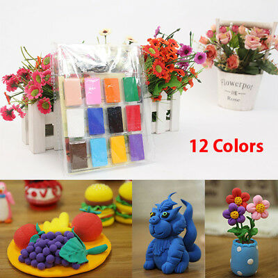 12x Colorful Soft Polymer Plasticine Fimo Effect Clay Blocks Air Dry Clay Crafts
