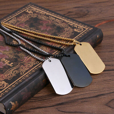 Charm Punk Military Stainless Steel Mens Jewelry Dog Tag Pendant Chain Necklace