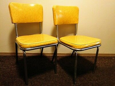 vintage virtue brothers of california vinyl yellow table chairs chrome finish