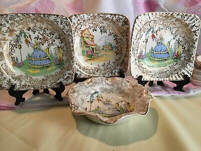 CRINOLINE LADY PIN/ BUTTER DISHES x 4 EMPIRE