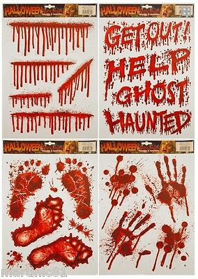 HALLOWEEN WINDOW STICKERS DECORATION SCARY BLOOD HAND PARTY BLOODY Foot RED