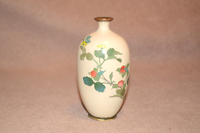 Antique Cloisonne enamelled vase 13 cm high with floral pattern.