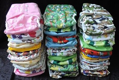 36 Pack/Bundle Modern Cloth Nappies with Microfiber Inserts