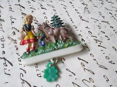 Vintage Brooch brooch Little Red Riding Hood-made in Germany