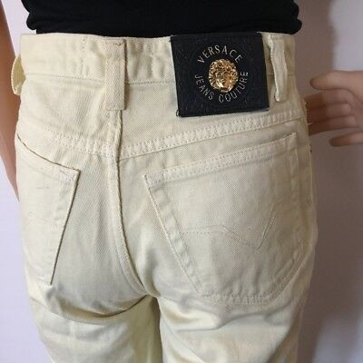 Vintage Versace Pastel Pale Yellow High-waisted Jeans XS Extra Small 23