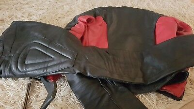 Retro motorcycle leathers, jacket and trousers by Mars of Melbourne