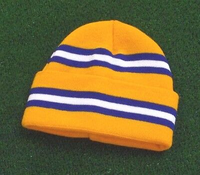 Leeds United Yellow Colours Retro Bar Hat - Yellow,Royal & White - Made in UK