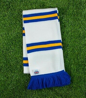 Leeds Colours Retro Bar Scarf - White,Gold & Royal - Made in UK