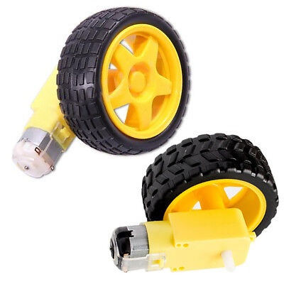 1/2 Set Smart Car Robot Plastic Tire Wheel with DC 3-6v Gear Motor for Arduino
