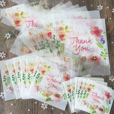 100pcs 4 Sizes Plastic Thank You Cookie Package Candy Bag Self-Adhesive