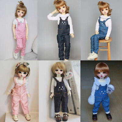 Cute Cat Face Casual Style Strap Pants for 1/4 1/6 BJD MSD YOSD Doll Clothes