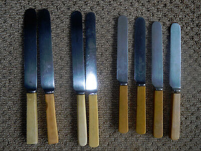 8 old faux bone handles knives- all SHEFFIELD England