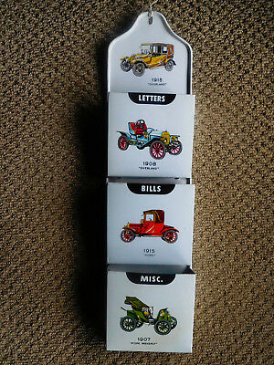 Vintage tin Letters & Bills holder - Made in Japan – vintage cars- Kitchenalia