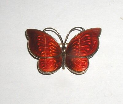 """Art-Deco Sterling Silver & Red Enamel Butterfly Brooch"" JEMAX Denmark"