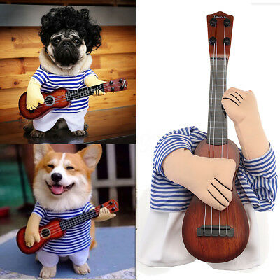 Funny Cat Dog Pet Halloween Costume Suit Puppy Prince Cosplay Guitar Prince Coat