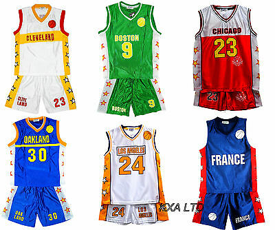 Basketball Kit Summer Shorts Kids Boys Girls Vest Top Sports Set 3-14 Years Bnwt
