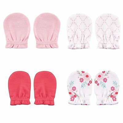 Luvable Friends Baby Scratch Mittens, 4 Pack, pink floral, 0-6 Months