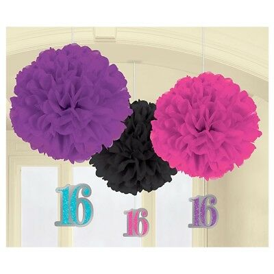 FANCY DRESS Sweet 16 Paper Fluffy Decorations (3 Pack)