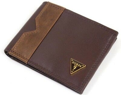 Guess Carlos Brown Men's Leather Bifold Wallet Double 6 Card 31gu13x049
