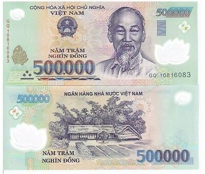2 x 500,000 VIETNAM DONG BANK NOTE VIETNAMESE CURRENCY VND BANKNOTE