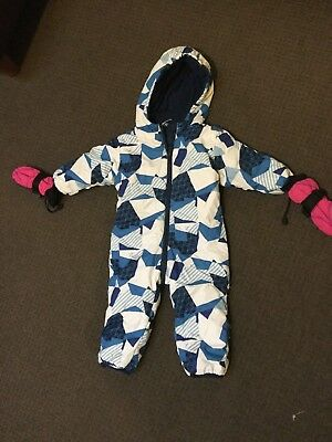 Boys/ Girls Toddler Snow/Ski Suit and gloves Ex Cond 12-18 months