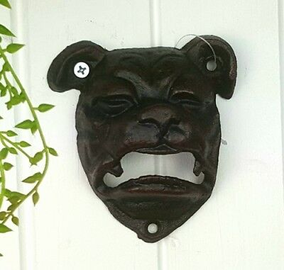 ENGLISH BULL DOG  Cast Iron Wall Mount Beer Beverage Bottle Opener Black