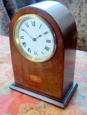 """EDWARDIAN""  Mantel Clock. French. Mahogany Works. Inlaid with Shell Motif"