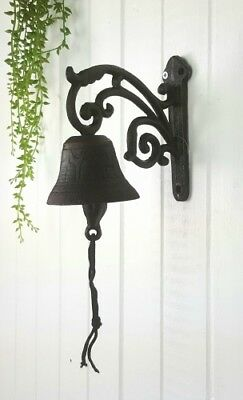 French Provincial Cast Iron Door Bell with Bracket Wall Mounted Home Decor