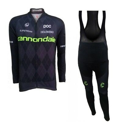 Team Cannondale Winter Roubaix Fleece Lined Cycling Jersey & Pad Bib Tights Set