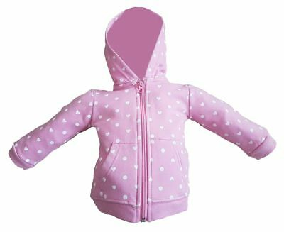 Pink hoodie with white polka dots for baby girl from age 3-24 months 100% Cotton