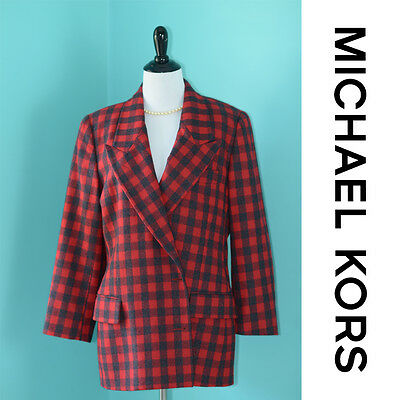 Michael Kors Womens Vintage Red Black Plaid Buffalo Check Blazer Jacket 12 Wool