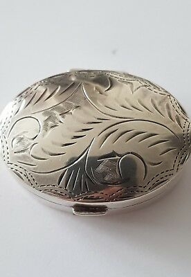 Solid Silver Hallmarked Engraved Pill Box(HM London 1997)