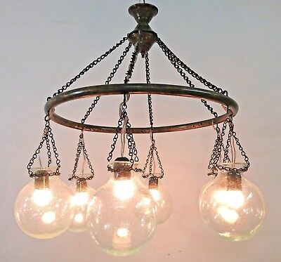 BR405 Antique Style 6 Mouth-Blown Ball Globes Glass/Brass Ring Large Chandelier